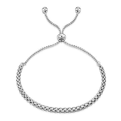 Amberta Pulsera en Fina Plata De Ley 925 - Chapado Rodio - Brazalete - 1.2 mm Cadena de Eslabón Circulares - Malla - Ajustable 23 cm - Círculo Deslizante