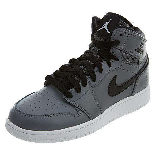 Nike Jungen Air Jordan 1 Retro High BG Basketballschuhe, Grau Weiß Schwarz Cool Grau Weiß Schwarz Weiß, 38.5 EU