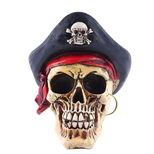 Amosfun Halloween Pirate Skull Figurine Realistic Resin Bandanna Human Skeleton Model Sculpture Statue Bedroom Crafts Wacky Props Ornament