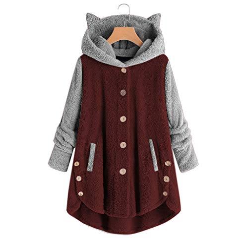 Damen süßer Katze Ohren Fleece Jacke Langarm Casual Plüsch Oversize Mantel Sweatshirts mit Kapuze (Rot, 50)