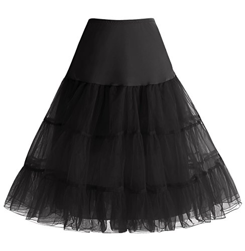 HomRain 1950 Petticoat Vintage Retro Unterrock Reifrock Underskirt Crinoline für Rockabilly Kleid Festliche Damenrock Black L