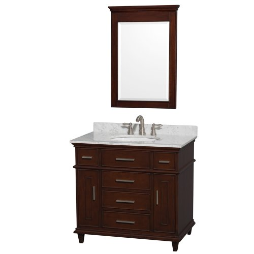 Wyndham Collection Berkeley 36 inch Single Bathroom Vanity in Dark Chestnut with White Carrara Marble Top with White Undermount Oval Sink and 24 inch Mirror
