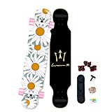 qwert Longboard 42inch Completo Maple Skateboard 8 Capas Maple Deck Standard Principiantes Cruiser Boards Adults Double Kick Dancing Deck para Chicas Adolescentes