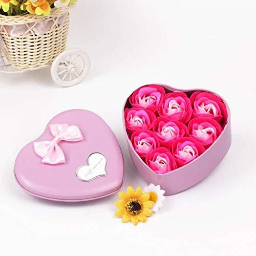 Bebliss 9Pcs Bouquet di Petali di Rosa Artificiale profumato Confezione Regalo a Forma di Cuore Bagno Corpo Fiore Sapone Regalo Bomboniera Festa per San Valentino, Anniversario, Matrimonio