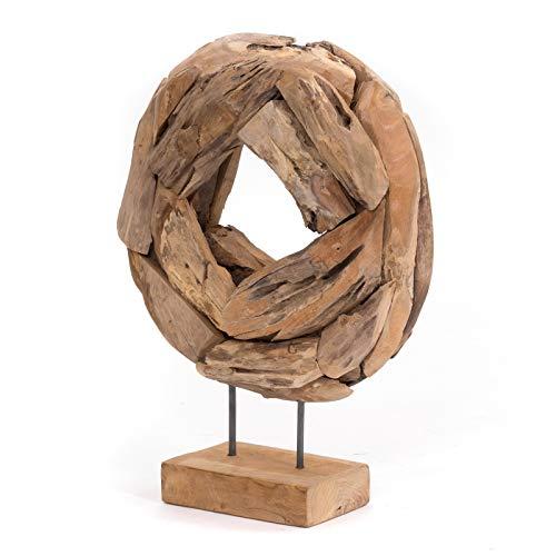 DESIGN DELIGHTS SKULPTUR Donut 40 | Teakholz, Eisen, 50x40x12cm (HxBxT) | Figur aus Treibholz, rustikale Dekofigur