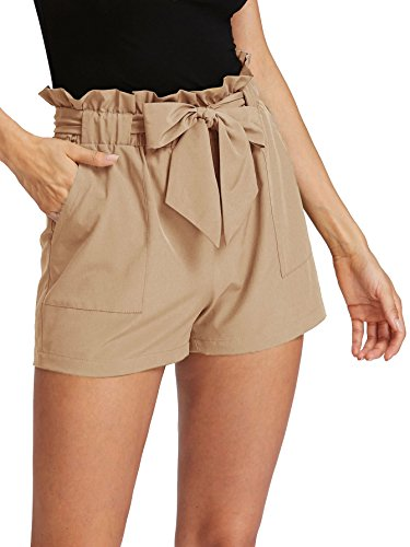 ROMWE Women's Casual Elastic Waist Bowknot Summer Shorts with Pockets...