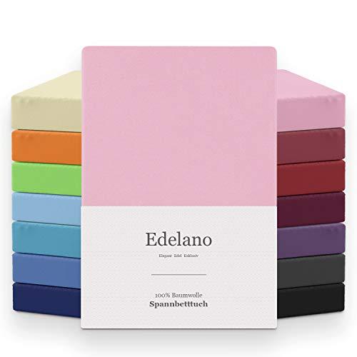 Melunda Jersey Spannbettlaken | 140x200-160x200 cm I Rosa | 100% Baumwolle | klassisches Spannbetttuch für Standardmatratzen | Oeko-TEX®