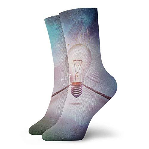 Preisvergleich Produktbild QUEMIN Socken Creative Glühbirne Crew Athletic Socke für Männer und Frauen Klassische atmungsaktive Kleidersocken 30 cm