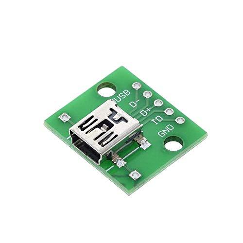 FYYONG MINI MICRO USB al adaptador DIP / 2,54 mm conector macho USB de 5 pines Conector hembra Tipo B USB 2.0 hembra PCB Converter (Tamaño: MINI USB)