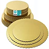 8 10 12 Inches Round Tierd Cake Boards Combo - Cardboard Disposable Layered Cake Pizza Circle Scalloped Gold...