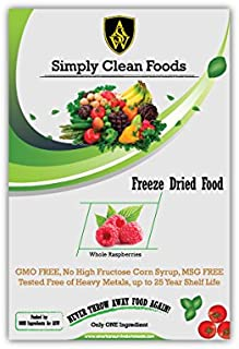 Simply Clean Foods Freeze Dried Whole Raspberries