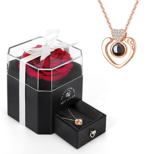 E-MANIS Rosa Eterna,La Bella y La Bestia Rosa con Collar I Love You Caja de Regalo,Rosa Real preservada para el día de San Valentín Día de la Madre Navidad Regalos románticos para Ella (Rojo)