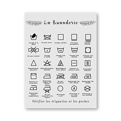 Woplmh symbool van de Franse wasmachine toont afdrukken in zwart en wit beeld van muurkunst, canvasschilderij, decoratie voor wastafel, 40 x 50 cm (zonder lijst)