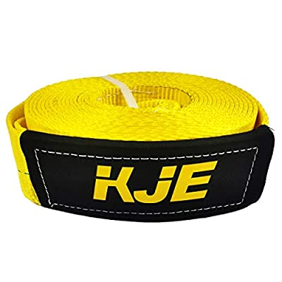 """KJE Recovery Towing Strap Kit, 3"""" x 30ft Heavy Duty 27000 lbs Vehicle Tow Rope with Storage Bag and 2pcs D Ring Shackles-Emergency Off Road Truck Accessories Towing Winch Snatch Strap"""