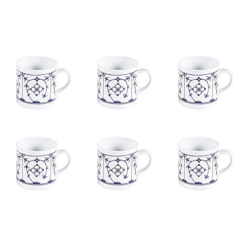 Triptis 6527920434882116 Tallin Indischblau Kaffeebecher, 250 ml, Porzellan, weiß/blau (6 Stück)