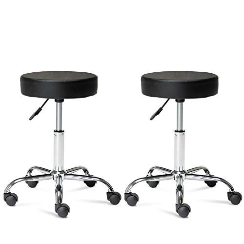 Artechworks Adjustable Rolling Swivel Salon Stool Chair For Tattoo Massage Facial Spa Medical Home Office Stool Chair With Wheels Black and PU Leather Cushion (2PCS)