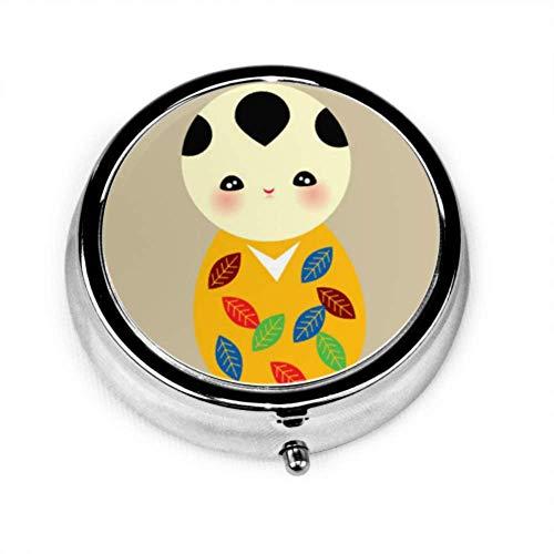 Pille Organizer Fall, niedlich schöne Kokeshi Doodle Boy tragbare Pillenbox kleiner Pillenbehälter für Geldbörse oder Tasche, runde Pillenbox