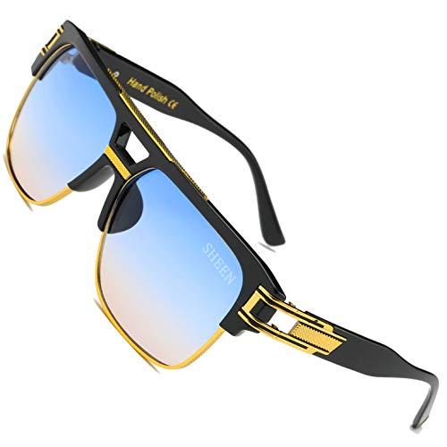 SHEEN KELLY Große Retro Sonnenbrille Square Brille Herren Damen Spiegel Linsen Luxus Eyewear Schwarz Hälfte Rahmen Metall Gold UV400 Oversized Gradient Blau