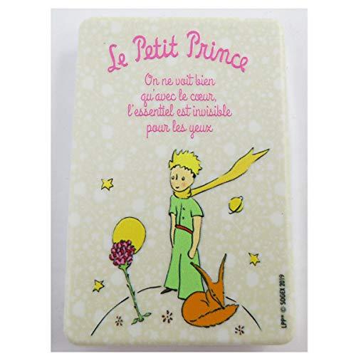 Le Petit Prince [Q9494] - Miroir de poche 'Le Petit Prince' beige (la rose, renard) - 8.5x5.5 cm