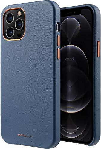 StilGut Cover kompatibel mit iPhone 12/12 Pro Hülle aus Leder -Lederhülle, Ledercase - Blau
