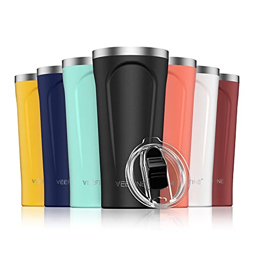 VeeFine Travel Coffee Mug 20oz 18/8 Stainless Steel Coffee Tumbler Dishwasher Safe Insulated Tumblers BPA-Free Fits Car Cup Holder