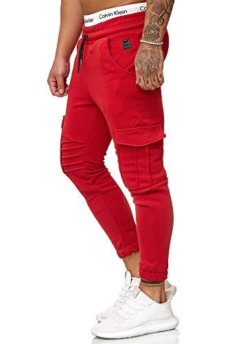 OneRedox Herren Jogging Hose Jogger Streetwear Sporthose Modell 1214 Rot XL