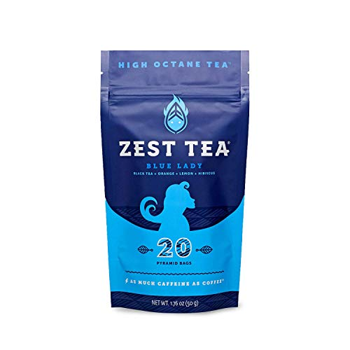Zest High Caffeine Energy Hot Tea Blend, Natural & Healthy Coffee Substitute, Perfect for Keto & Whole 30, 20 servings (150mg Caffeine each), Compostable Teabags (No Plastic) - Blue Lady Black Tea