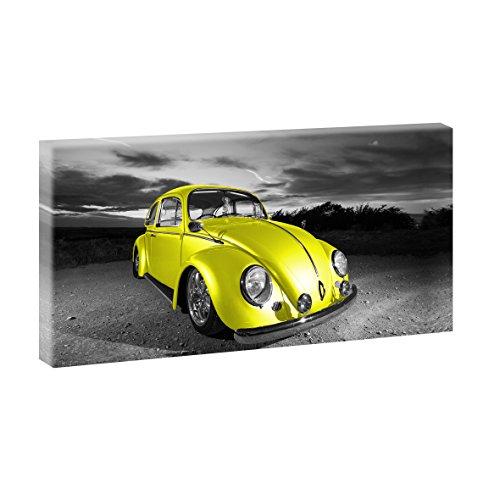 Oldtimer Bild auf Leinwand VW Käfer - 80x40 cm Wandbild im XXL-Format, Leinwandbild mit Kunstdruck, Auto Fotografie auf Holzrahmen gespannt, Made in Germany