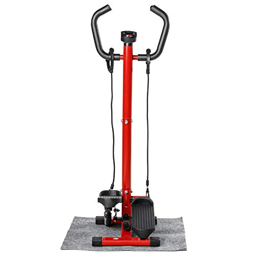 SCAYK Nuevos Steppers Handrail Multifuncional Stepperming Steppers Home Aerobic Fitness Equipos con Pantalla LCD MAX Carga 150 KG Aerobics Stepper BANCE (Color : Red)