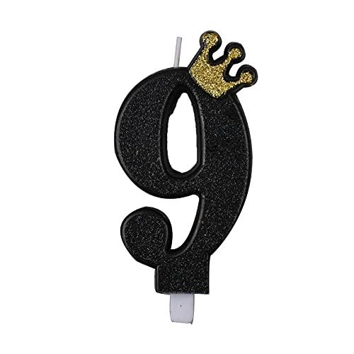 Candele per Torta di Compleanno Nero Numero 9 Candele per Compleanno Particolari Cake Topper 9cm