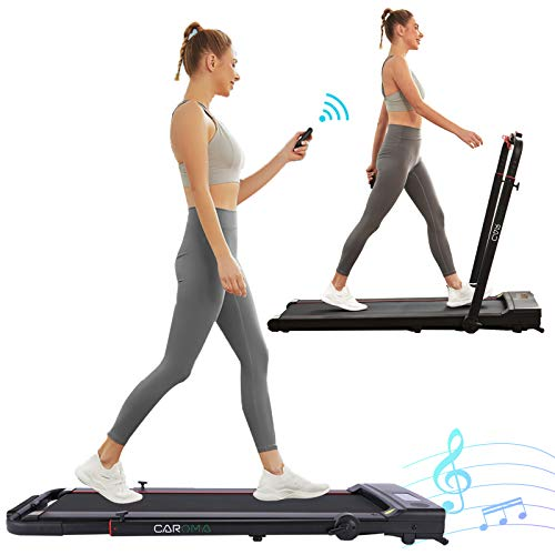 Caroma Folding Treadmill Under Desk for Home 2-in-1 Space Saver Treadmill with Bluetooth Speaker Folding Running Walking Machine for Office Use with Remote/App Control for Indoor Fitness Training