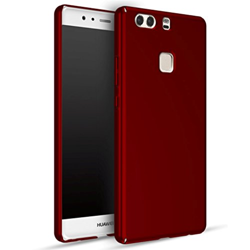 Apanphy Huawei P9 Plus Funda, Ultra Slim Hard Sedoso Scrub Shell Plena protección Trasera Piel Siento Cover para Huawei P9 Plus Rojo