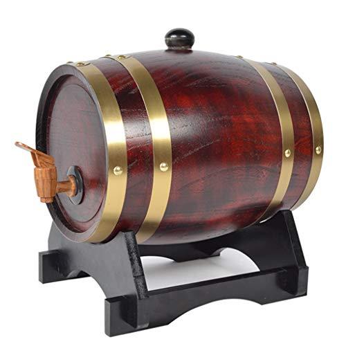 MAGFYLY Barril de Vino de Madera Barril de Whisky de 10 litros, Barril de Roble Duradero para Almacenar Vino y Brandy de Whisky (Color : Retro Red, Size : 10L)
