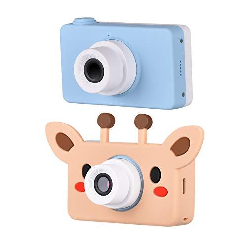 Funkprofi Digitalkamera für Kinder Kinderkamera mit Cartoon Giraffe Schutzhülle Kidizoom Kids Kamera Fotoapparat Full HD 1080P 8 Megapixel 2 Zoll HD Bildschirm Blau