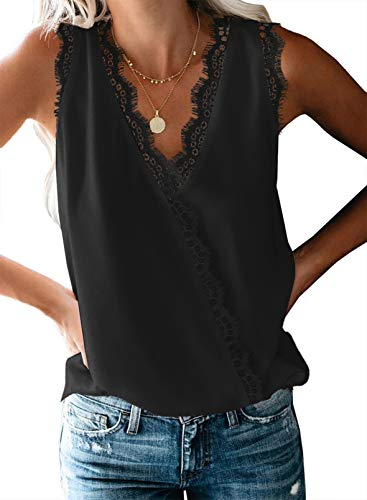 FIYOTE Damen Hemd Casual Bluse Top Chiffon Oberteile V-Ausschnitt T-Shirt Top Sommer Top Tank Tunika Elegant Weste Top 2-schwarz 48-50