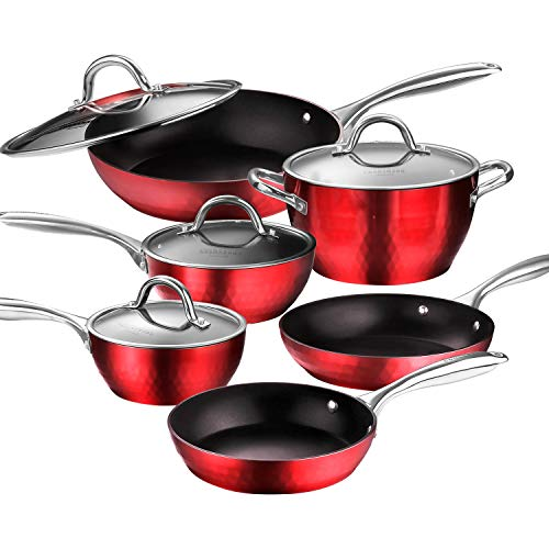 AMERICOOK 10 Piece Pans and Pots Set, Diamond-Infused Induction Cookware Set - Set of Induction Pan...