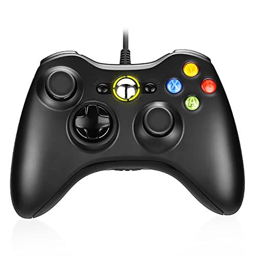 Powerextra Game Controller Xbox 360 - Controller Cablato per Microsoft Xbox 360 Xbox 360 Slim e PC Windows 7 8 10 Controller di Gioco Cablato con Doppio Motore Vibrante Doppio - Nero
