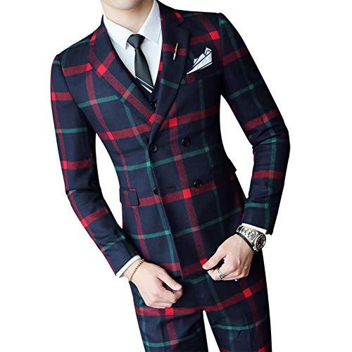 GFRBJK Herren Plaid Brautkleid Set Fashion Herren Business Slim Anzug Herren Zweireiher Anzug Set/Jacke + Weste + Hose Pants Rot 3 Stück , M