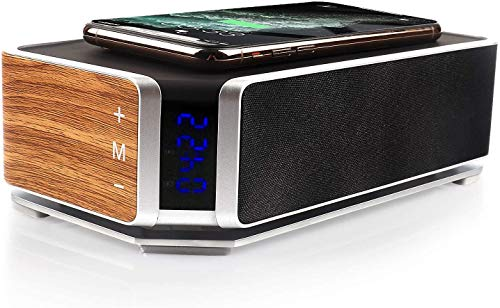 Simple Wireless BT V5.0 Speaker Smart Alarm Clock, FM Radio, Stereo Sound, Mic, TF Port, Qi Wireless Charger for Phone (Black)