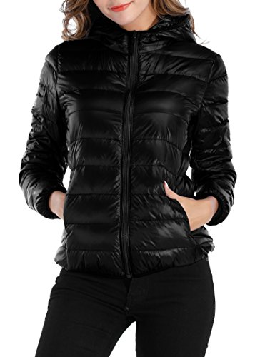 Sarin Mathews Womens Packable Ultra Lightweight Down Jacket Outwear Puffer Coats Black XL