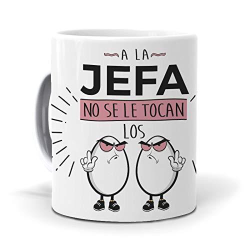 Taza A la jefa no se le tocan los Huevos