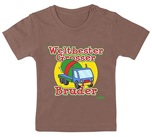 """Hariz - Camiseta para bebé, diseño con texto en alemán """"Weltbeste Grosser Hermano y hormigonera más grande del mundo con tarjetas de regalo, color marrón, 9 – 15 meses/70 – 79 cm"""