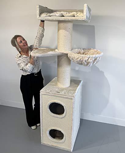 RHRQuality Kratzbaum Grosse Katzen stabil Maine Coon Tower Box Comfort Creme mit stamme 20cmØ