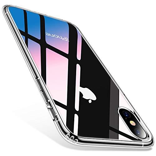 TORRAS HD Klar iPhone X Hülle/iPhone XS Hülle mit Panzerglas[Anti-Gelb und Voller Schutz] iPhone X/XS Case Hard Polycarbonate Back und Soft Silikon Bumper Hybrid Handyhülle für iPhone X/XS - Transparent