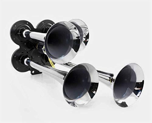 Potente bocina de aire cromada de 24 V para camión de trompeta HDV
