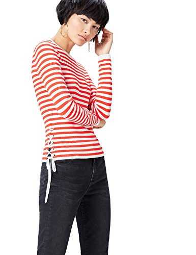 find. Jersey de Rayas Marineras para Mujer , Multicolor (Sports Red/white), 38 (Talla del Fabricante: Small)