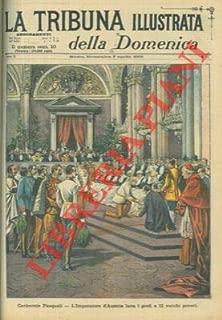 Cerimonie Pasquali. L'Imperatore d'Austria lava i piedi a 12 vecchi poveri.