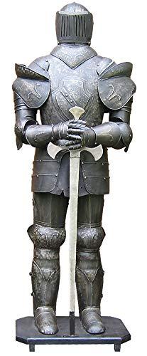 Ritterrüstung 185 cm mit Schwert dunkel BRÜNIERT