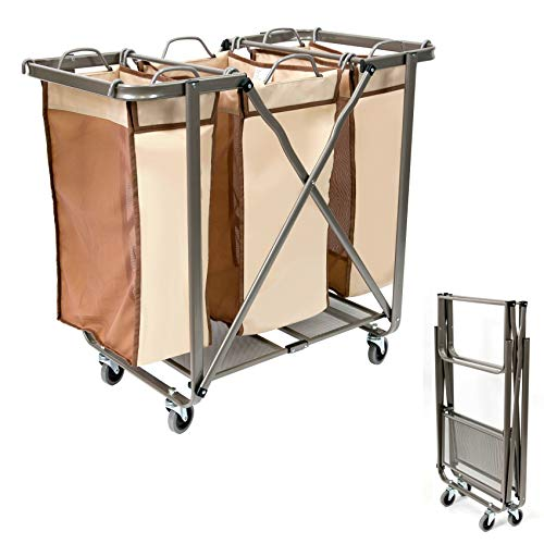 Seina Popup Folding 3 Section Laundry Hamper with Wheels, Heavy Duty | Removable Odorless Bags, No Assembly Required, Folds Flat, Smooth Gliding Wheels, Large Rolling Sorter, Freestanding - Honey