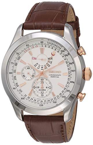 Seiko Chronograph Herren-Uhr Edelstahl mit Lederband SPC129P1